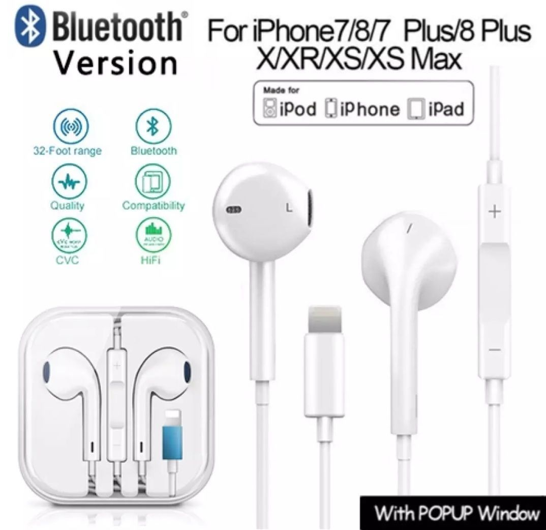 ABK For iPhone Handsfree Bluetooth Wired Lightning Connector Compatible with iPhone 7,7 Plus,8,8 Plus, X,XR