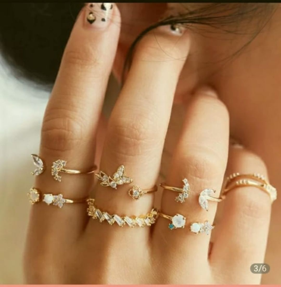 7 Pcs Ring Set Mid Finger Rings Adjustable Size For Girls