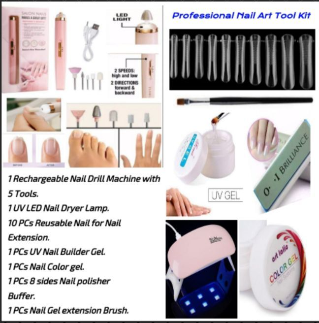 Professional Nail Art Kit Nail Extension UV Nail Building gel including Nail Drill machine with Dryer lamp and Acrylic Nails Accessories of Nail Art