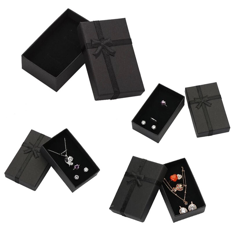 Shadesup Jewelry Box 8x5cm Black Necklace Box for Ring Gift Box Paper Jewellery Box Packaging Bracelet Earring Display with Sponge