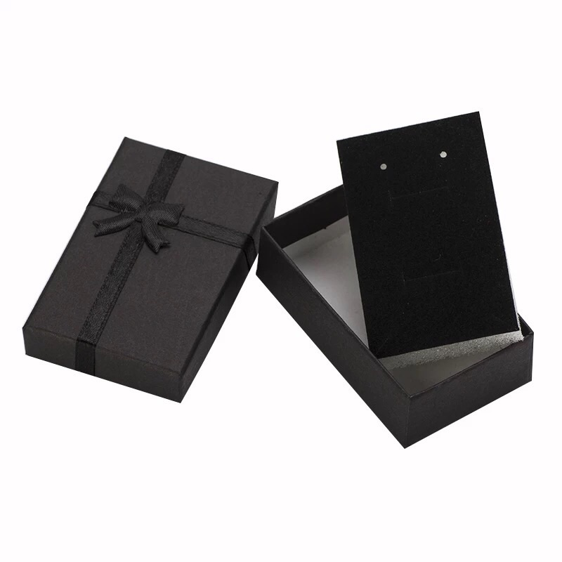 Jewelry Box 8x5cm Black Necklace Box for Ring Gift Box Paper Jewellery Box Packaging Bracelet Earring Display with Sponge